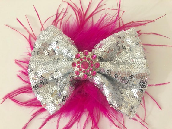Silver Pink Hair Clip, Dance Costume Hair Clip, Pink Feather Hair Bow, All Colors,Red, Silver, Gold, Wine,Royal Blue, Black Feather Bow