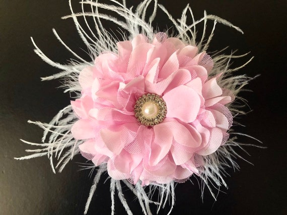 Wedding Fascinator, Pink Flower Hair Clip, Bridal Flower Hair Clip, Light Coral Blush, Pink Flower Clip, Easter Flower Clip,Flower Girl Clip