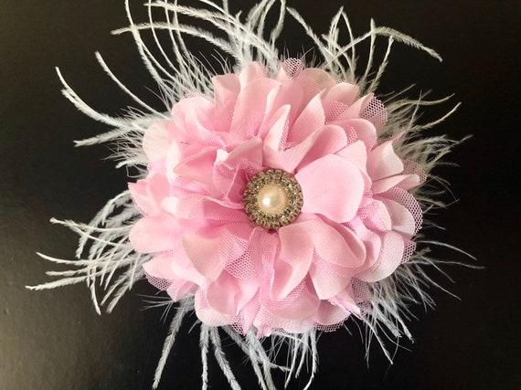 Wedding Fascinator, Pink Flower Hair Clip, Bridal Flower Hair Clip, Light Coral Blush, Pink Flower Clip, Easter Flower Clip,Flower Girl Clip