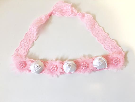 Pink and White  Rosette Flower Lace Headband Tie Back, Small Pink Flower Lace Headband Hair Tie , Baby Hair Tie Lace Headband
