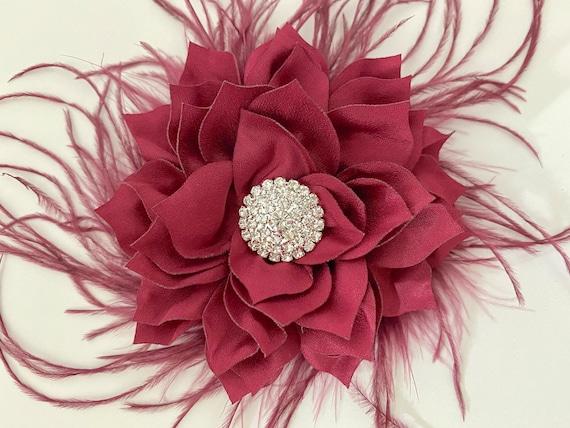 Burgundy Hair Clip, Deep Red Floral Clip, Christmas Hair Clip, Wedding Flower Hair Clip, Crystal Flower Feather Clip, Red Wine Feather Clip