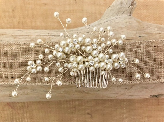 Pearl Hair Comb, Bridal Hair Comb, Crystal Hair comb, Pearl Hair Comb, Vintage Hair Comb, Rustic Wedding Comb, Wedding Hair Jewelry Comb