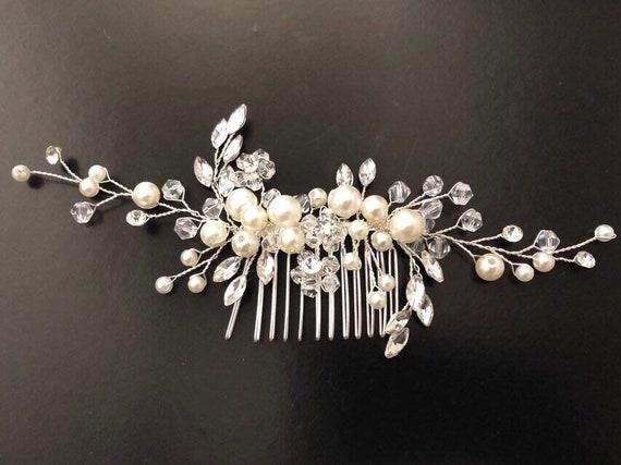 Pearl Hair comb,Bridal Hair Comb, Wedding Headpiece, Bridal Hair comb, Vintage Wedding Comb, Crystal Pearl Bridal Comb, Wedding Hair jewelry