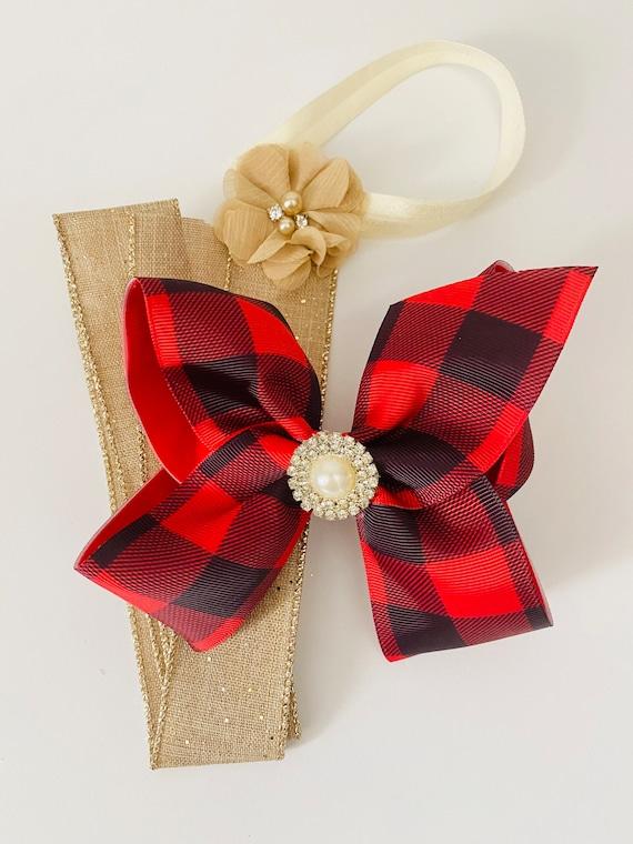 Christmas Gift for girls Hair Bow Holder, Plaid Hair Bow Holder Gift Set, Green Hair Clip, Burgundy Hair Bow Holder Gift, Christmas Gift