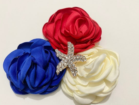 Baby Flower Hair Clips, 4th of July Hair Clips, Crystal Starfish Hair Clip, Baby Red, Off White Blue Hair Clip, All American Girl Hair Clips