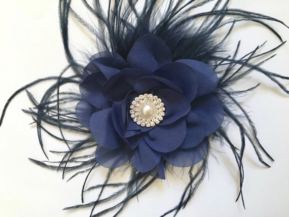 Navy Blue Hair Clip, Flower Clip, Navy Bow, Floral Bridal Hair Clip, Portrait Photo, Flower Girl Clip, Navy Pearl Clip, Hair Accessories
