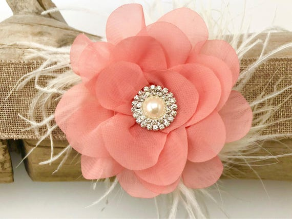Coral Floral Hair Clip,Spring Wedding Flower Girl Hair Accessories, Mint, Lavender, Gray Chiffon Clip, Easter Hair Clip, Feather Hair Clips