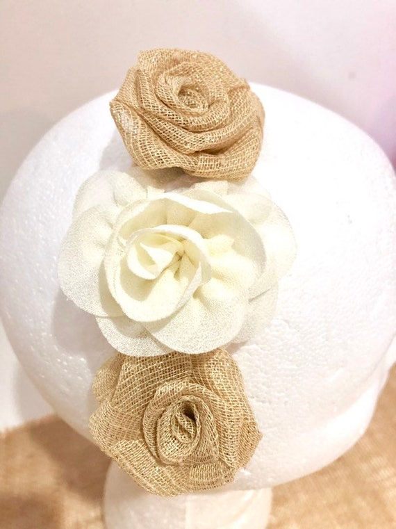 Ivory Beige Crown Headband, Rustic Wedding Crown Headband, Flower Girl Crown, Fabric Flower Headband Crown, Flower Girl Headband