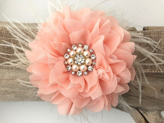 Wedding Fascinator, Kentucky Derby Fascinator, Crystal Pearl Feather Clip, Spring Wedding Hair piece, Chiffon Floral clip,All Color Flowers