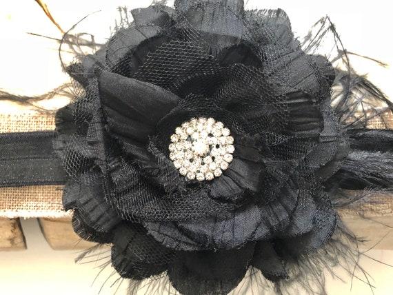 Black Rhinestone Hair Clip, Holiday Headband Newborn- Girls, Black Flower Rhinestone Feather Headband Hair Clip, Bridal Hair Clip Fascinator