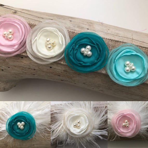 Flower Girl Accessories, Pink Flower Hair Clip, Teal Flower Hair Clip, White Flower Hair Clip, Bridal Hair Clip,