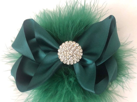 Green Hair Bow, Teal Hair Clip  Green Satin Bow, Crystal Pearl Feather Bow,All Colors, Green, Red, Black Satin Bows,Custom Feather Hair Bows