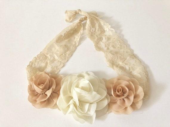Rustic Nude Floral Headband, Nude Beige Ivory Flower Headband, Baby Headband, Baptism Headband, Flower Girl Crown, Ivory Beige Lace Headband