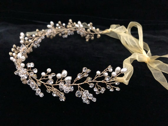 Flower Girl Gold Crown Wreath, Crystal Crown Wreath, Bridal Crystal Pearl Crown Wreath, Wedding Crown Wreath, Diamond Crown Wreath, Bride