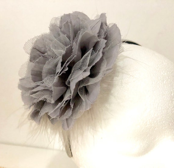 Floral Gray Flower Girl Headband, Grey Silver Headband, Bridal Flower Headband, Birthday Headband, Fancy Girl Handmade Headband