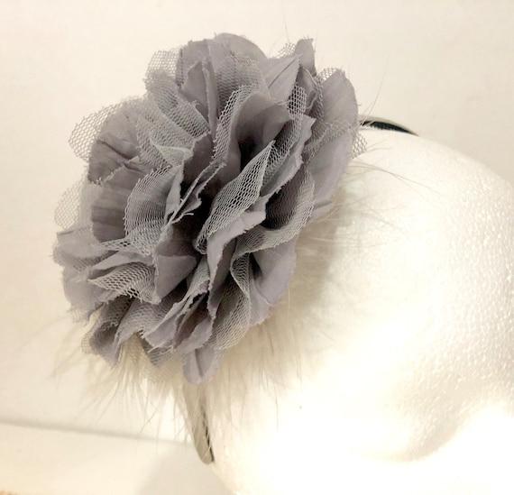 Back to School Headband, Flower Girl Headband, Grey Silver Headband, Bridal Flower Headband, Birthday Headband, Fancy Girl Handmade Headband