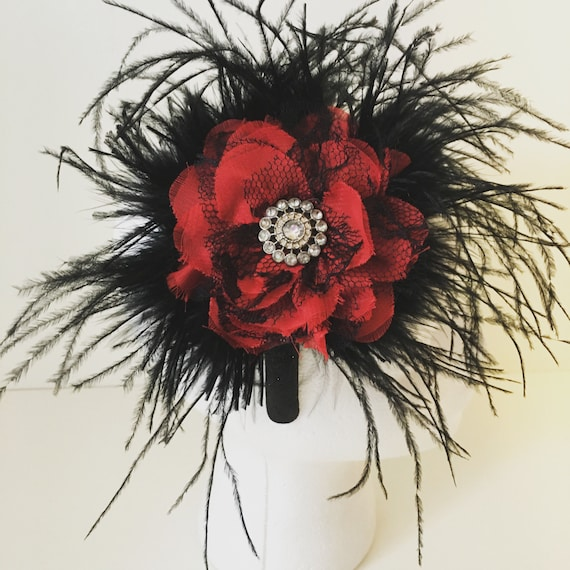 Red Black Feather Headband, Holiday Pageant Headband, Red Black Flower Feather Headband, Dance Costume, Red Black Fascinator, Girl Handmade
