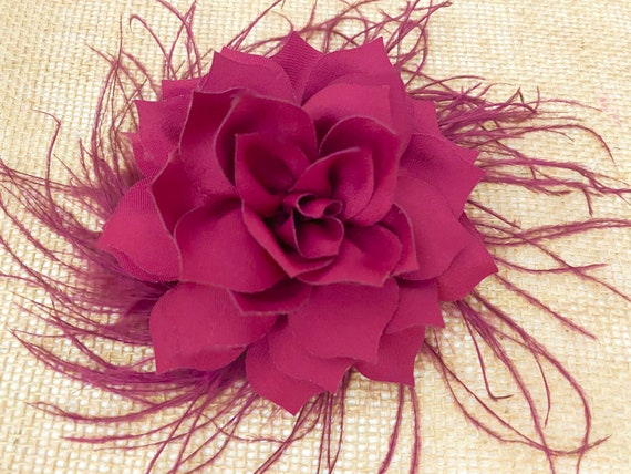 Burgundy Flower Clip, Deep Red Clip, Taupe Hair Clip, Blush Hair Clip, Feather Floral Wedding Hair Clip, Crystal Clips, Wedding Headpiece