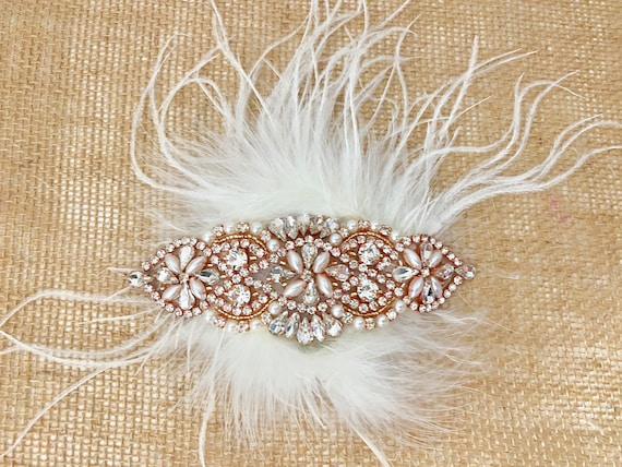 Rose Gold Hair clip, Wedding Fascinator, Gold Bridal Hair clip, Crystal Feather Fascinator, Pearl Crystal Gold Hair Comb,