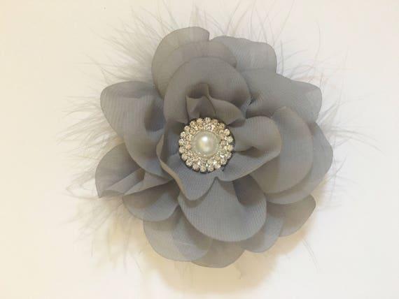 Grey Hair Clip, Bridal Hair Flower Accessories, White, Ivory, Lavender, Mint, Teal, Pink, Navy Chiffon Pearl Marabou Flower Hair Clip,