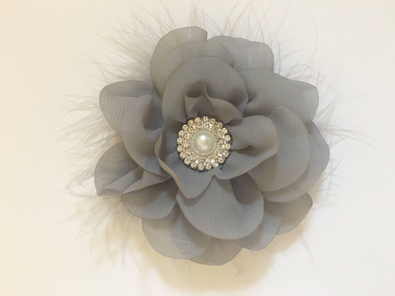 Grey Hair Clip Bridal Hair Flower Accessories White Ivory