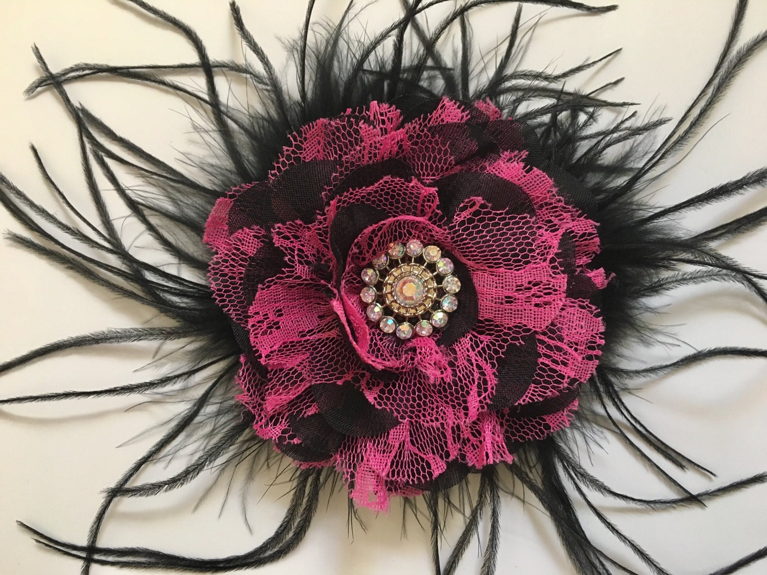 Black And Pink Flower Hair Clip Red And Black Flower Feather Hair