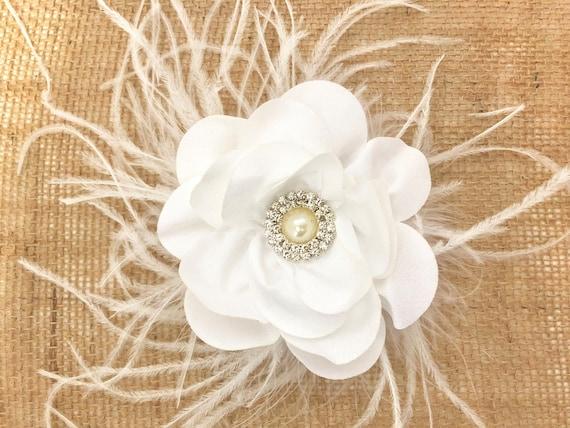 White Wedding Flower Hair Clips,White Hair Clip, Ivory, Dusty Rose, Navy Flower Clips, Pink Hair Clip,Grey Hair Clips, Feather Hair Clips,