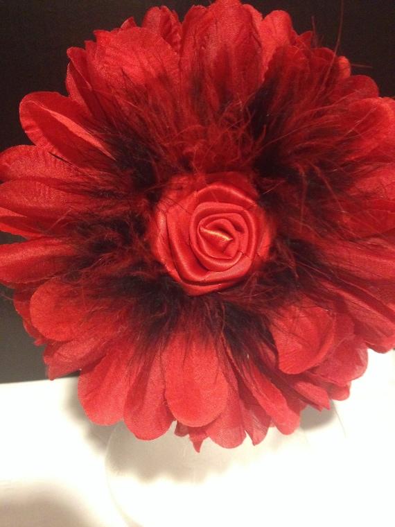 Black and Red Flower Headband, Floral Headband, Floral Crown, Flower Girl Headband, Birthday Headband, Pageant Headband, Custom Headbands