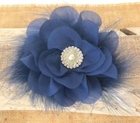 Navy Blue Flower Hair Clip, Navy Blue Hair Clip,Navy Flower Clip,Blue and Ivory Clip, Wedding Flower Girl Hair Clips, Navy Baby  Headband