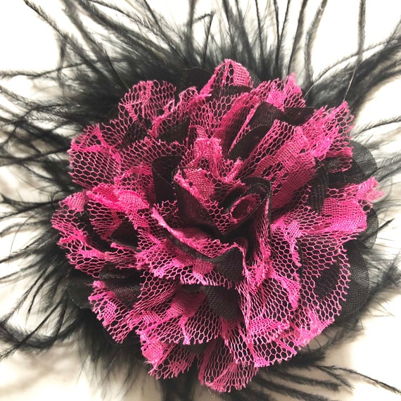 Pink and Black Hair Clip, Fuchsia Hair Clip,Dance Costume Hair piece, Black Lace clip, Feather Hair Clip, Dance Costume, Birthday Hair Bow