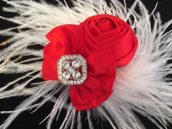 Red White Fascinator, Feather Hair Clip, White and Red Hair Clip, Bridal Hairpieces, Dance Costume Hair piece,