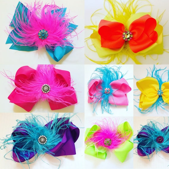 Dance Costume harpiesce, Feather Hair Bows, Big Hair Bows, Purple,Black,Hot Pink, White, Turquoise, Purple Feather headpiece, Costume Clip
