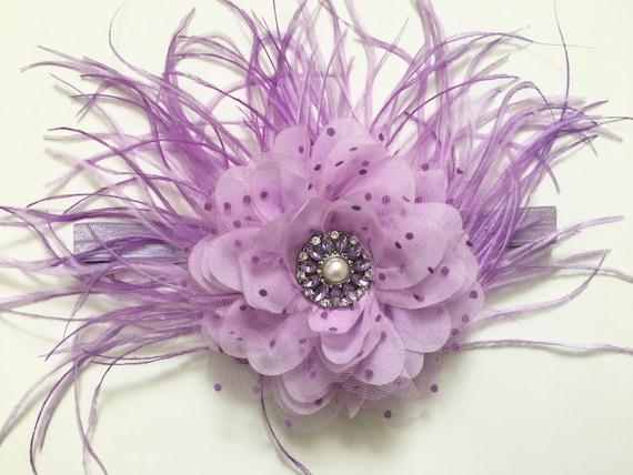Lavender Lilac Flower Clip, Bridal Hair Clip, Flower Girl Hair Clip, Lavender Flower Hair Clip, Feather Hair Clip, Spring Flower Clip