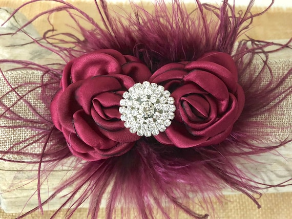 Burgundy Flower Clip, Christmas Hair clip, Burgundy Flower Girl Clip, Wedding Hair Accessories, Burgundy Flower Crown, Derby Feather Clip