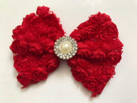 Floral Red Hair Bow, Rosette Bow, Red Hair Bow, Baby Bow, Red Hair Clip, White Bow, Pink Bow, Gray Bow, Pink Chiffon Hair Bow, Rosette Hair