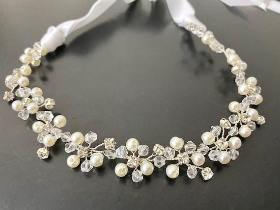 First Communion Crown Wreath, Flower Girl Crown, Communion Crystal Crown, Crystal Pearl Flower Crown, Halo Wreath, Birthday Crown Wedding