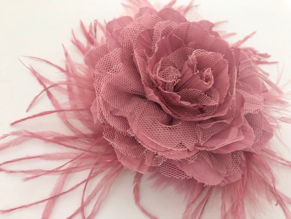 Dusty Rose Pink Hair Clip,Pink Rose Flower Clip,Pale Pink Floral Clip, Mauve Flower Girl Clips, Wedding Fascinator,Derby Fascinator, Bridal