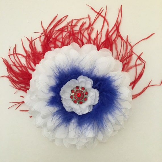 Red White & Blue Flower Feather Fascinator Clip/ Headband. Jumbo Flower Hair piece, Dance Costume Hair pieces, Fancy Girl BoutiqueNYC