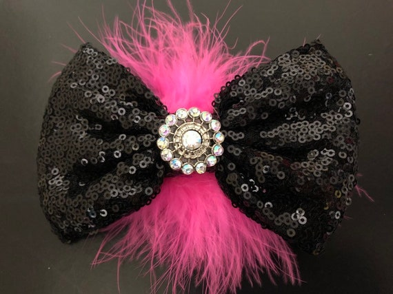 Dance Costume Clips, Black and Pink Feather Bows, All colors Sequin Hair Bows,Turquoise, Red, Yellow, Purple, Black Hair clip