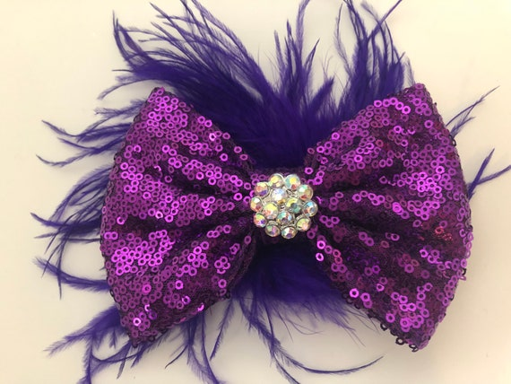 Dance Costume, Purple Black Feather Clip, Custom Dance Hair piece, Black Feather Hair Bow, Dance competition, All colors Sequin Feather Bow