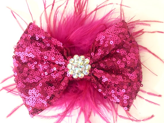 Dance Costume Hair Clip, Pink Feather Hair Bow, All Colors, Red, Silver, Gold, Wine, Royal Blue, Black Feather Bow, Birthday Girl Hair Bow