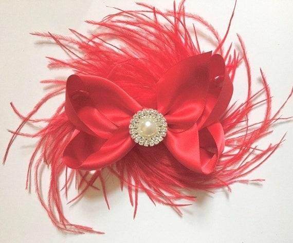 Christmas Hair Bow, Baby Bow, Red Hair Bow,Feather Bow, Bridal Hair Bow, Flower Girl Bow, Holiday Hair Bow, Purple Bow, Navy Bow, Gray Bow