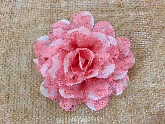 Valentine Heart Flower Clip,Pink White Heart Floral Clip, Pink Heart Flower Clip, Coral Pink  Clip, Baby Girl Clip, Flower Girl Accessories,