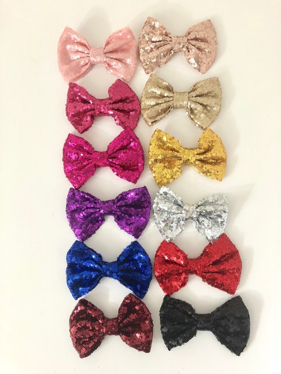 Sequin Hair Bow Red Bow, Silver Bow, Gold Hair Bow, Royal Blue, Black, Hot Pink Sequin Hair Bow, Dance Costume Custom Hair Bow for girls