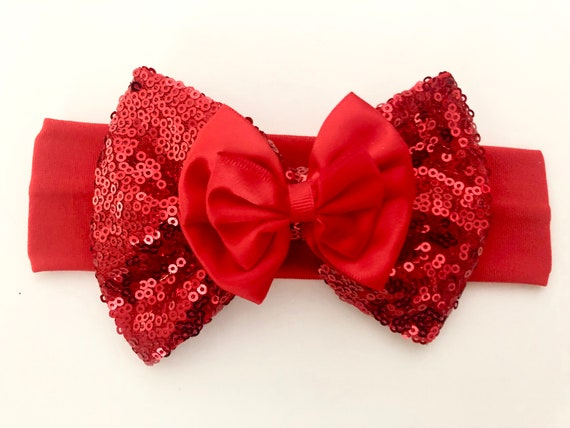 Baby Headbands, Red Baby Hair Bows, Red Baby Headbands, Silver Bow Headband,Black Red Hair Bow,Silver Red Baby Bow Headband