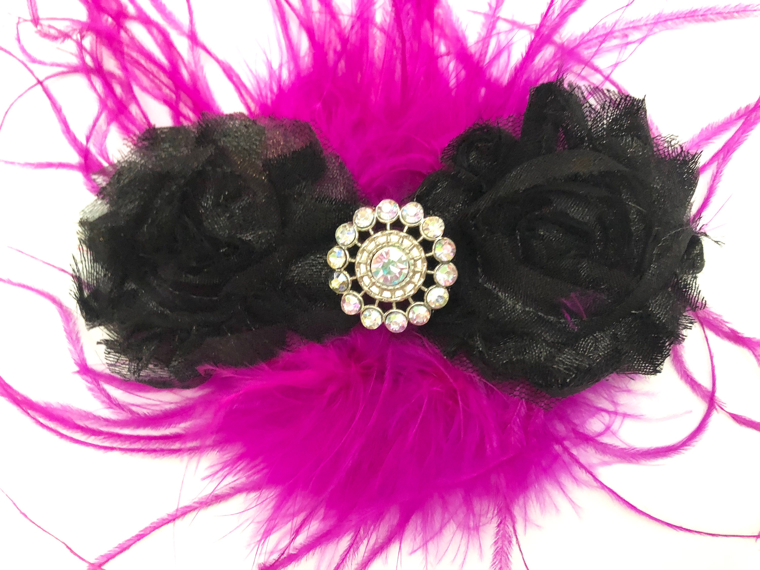 Hot Pink Black Hair Clip, Fuchsia Feather Hair Clip, Black