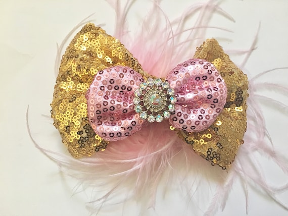 Custom Hair Bows, Dance Costume Bow, Gold Pink Hair Bow, Silver Pink Hair Bow, Feather Hair Bow, Dance Costume, Birthday Bow,