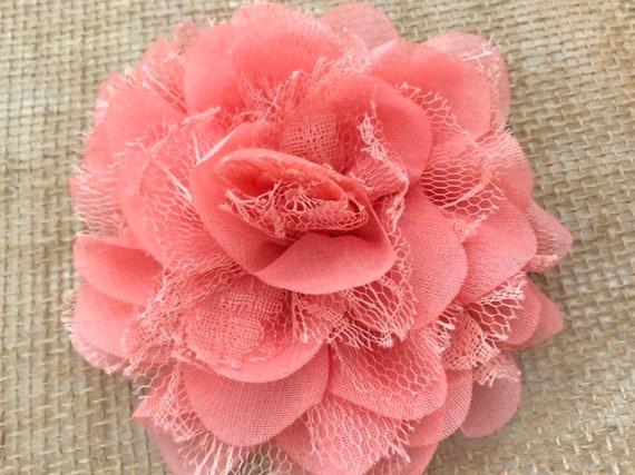 Coral Flower Hair Clip, Coral Flower Clip, Peach Coral Clip, Flower Girl Clip, Flower Clip, Wedding Bridal Flower Clip, Chiffon Flower Clip