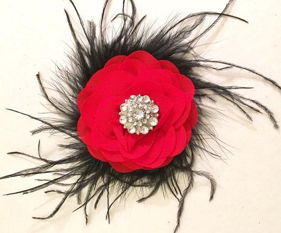 Red Black Flower Hair Clip, Red Black Headband, Flower Clip, Dance Costume, Portrait Photo, Pageant Clip, Black Feather Headband