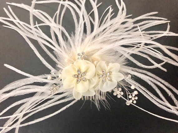 1920's Hairpiece, Wedding Hair Comb, Bridal Headpiece, Vintage Wedding Crystal Hair Comb,Bridal Hair Jewelry, Feather Crystal Hair Comb